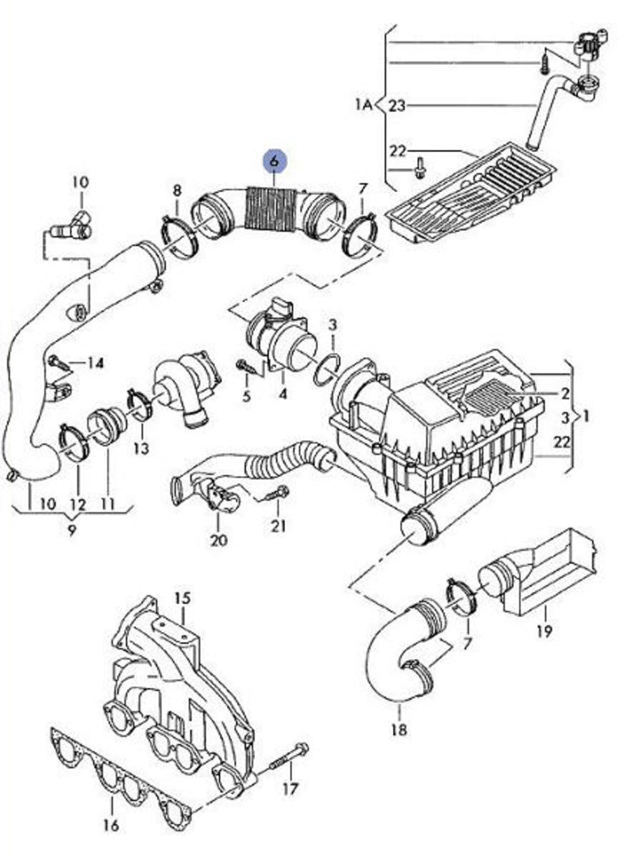 For the 2005+ VW Jetta, the air intake parts are shown. Other years may be similar. The MAF is directly above #4. Outside air enters at #19.