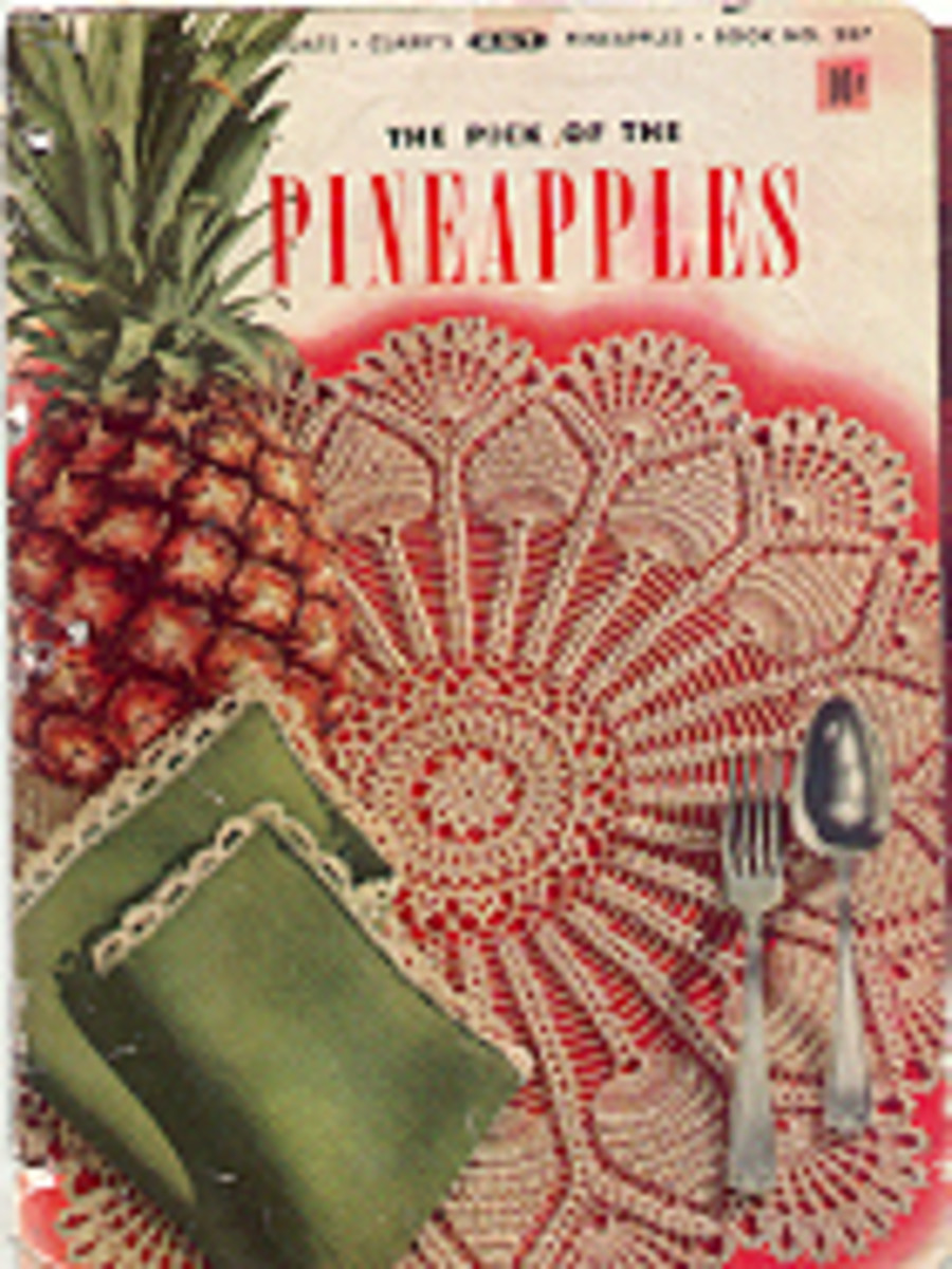 The pretty pineapple doily can be found at Barb's Free Crochet Patterns
