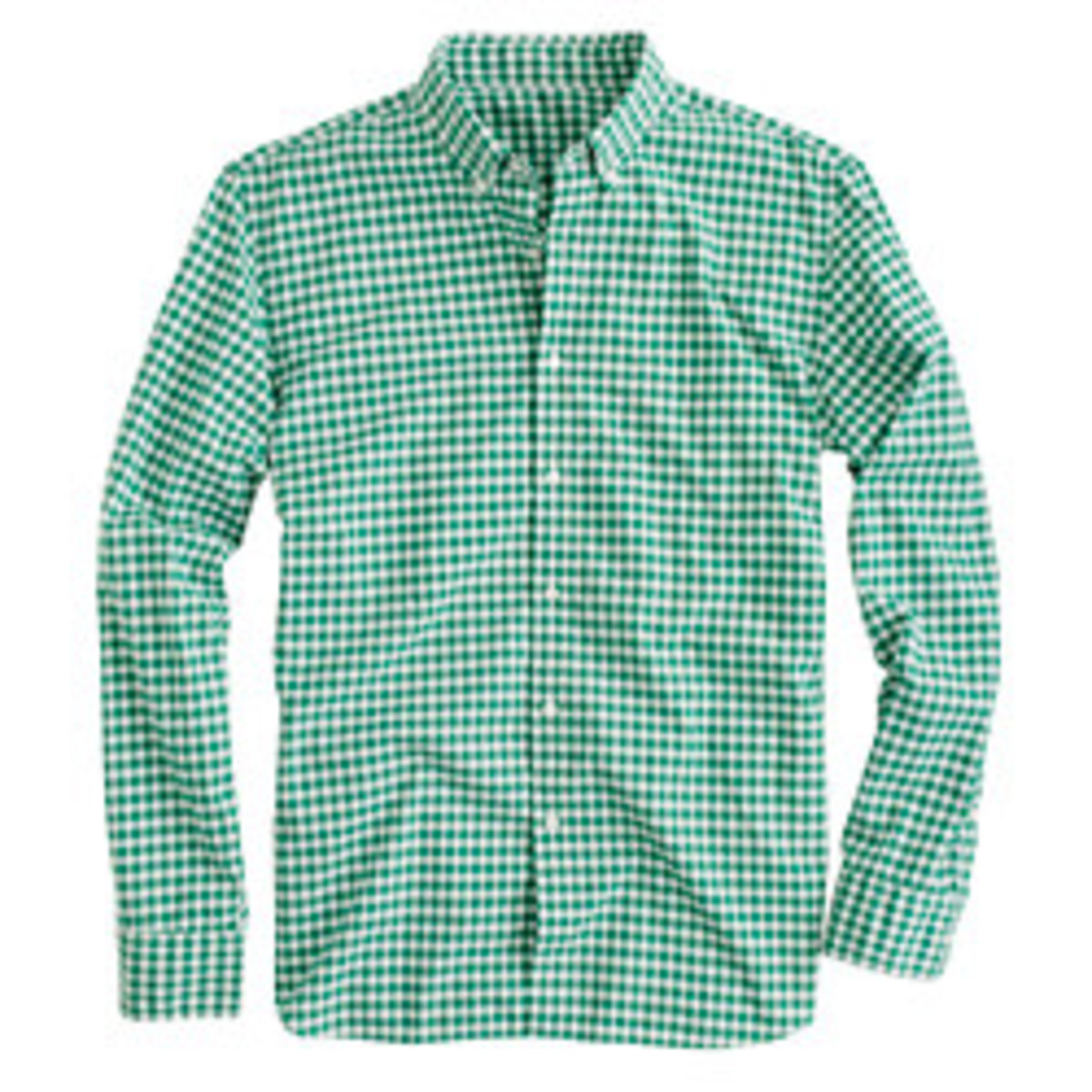 J.Crew. Secret Wash shirt in green gingham, $64.50