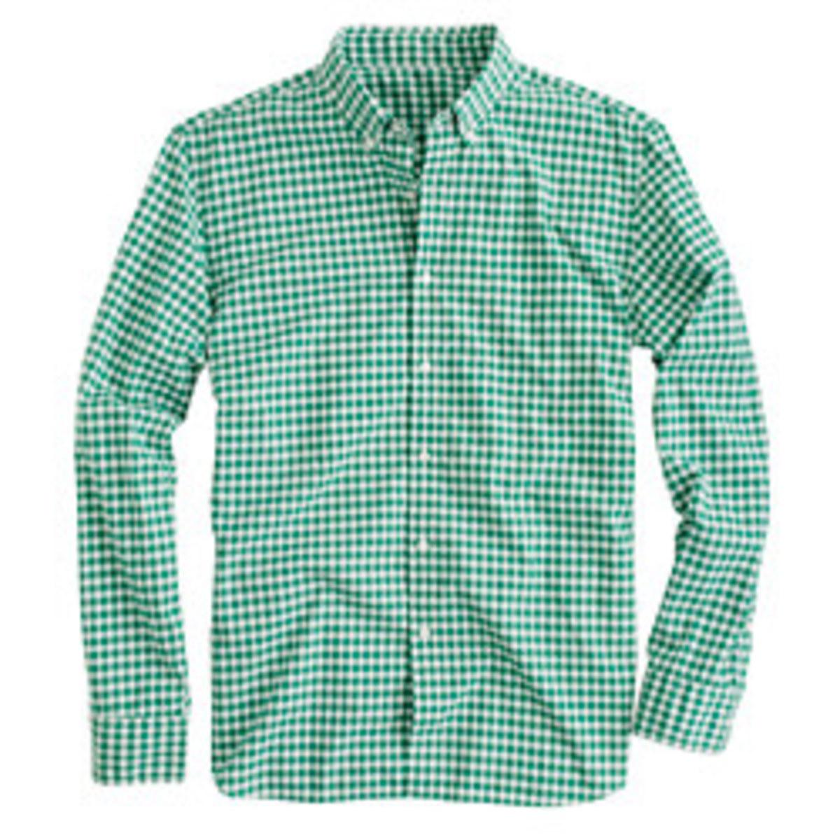 J.Crew. Secret Wash shirt in green gingham, $64.50