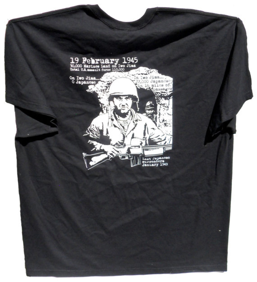 T-shirt commemorating the 70th anniversary, illustrating that the Japanese were in, not on, Iwo Jima