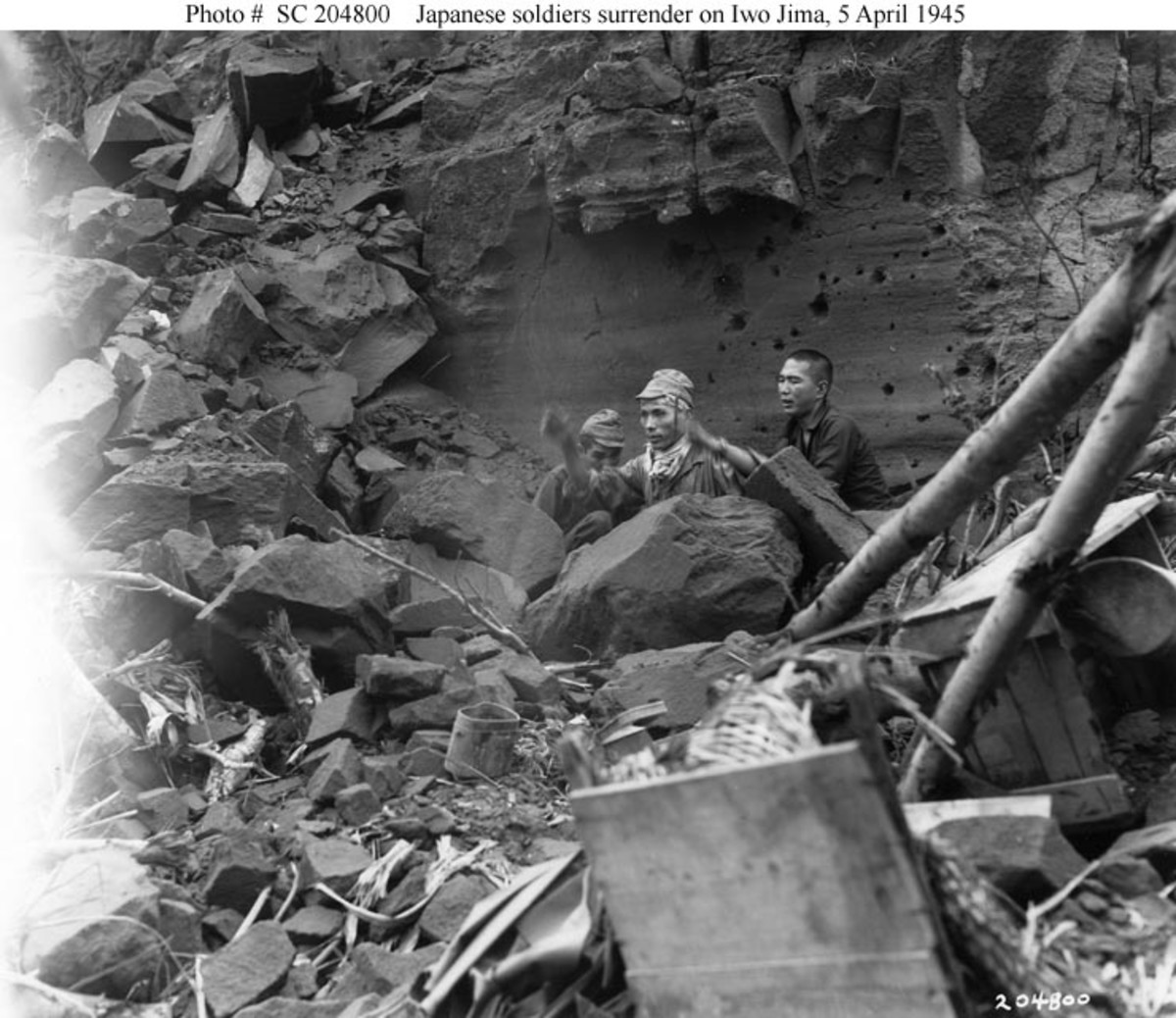 The Battle of Iwo Jima ends for three more Japanese soldiers, on April 5, 1945, weeks after the island was declared secured.