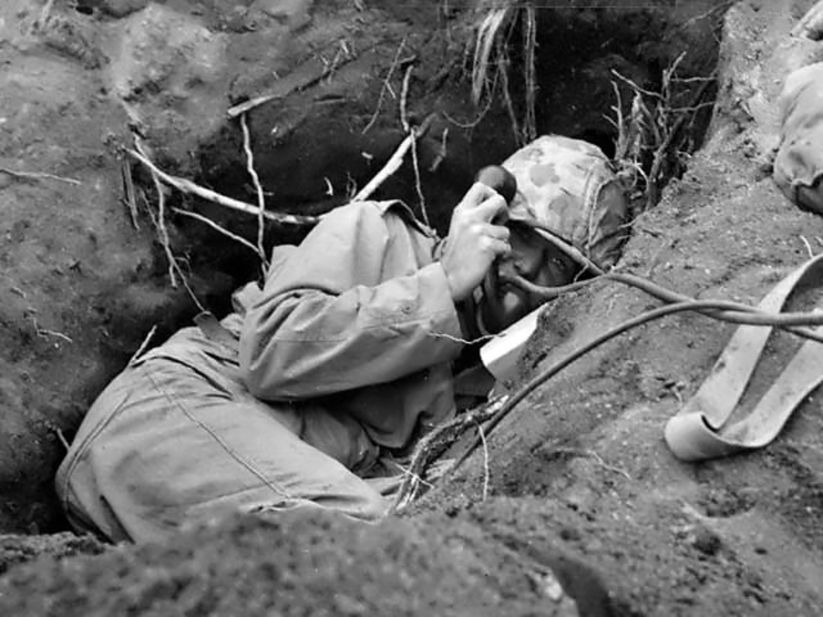 """This picture is often captioned """"Iwo Jima Phone Booth""""."""