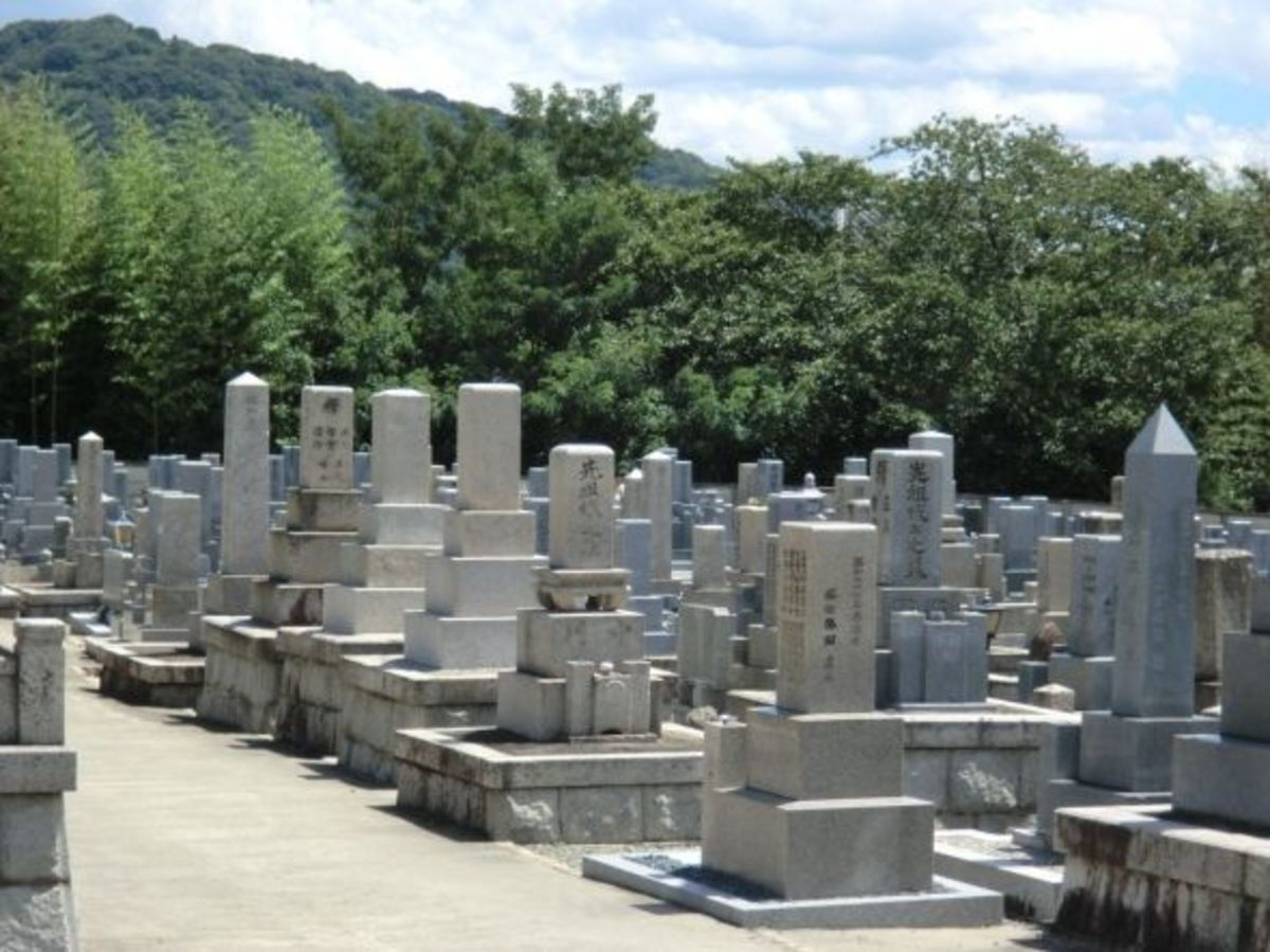 A Japanese graveyard--notice how close the haka are to each other