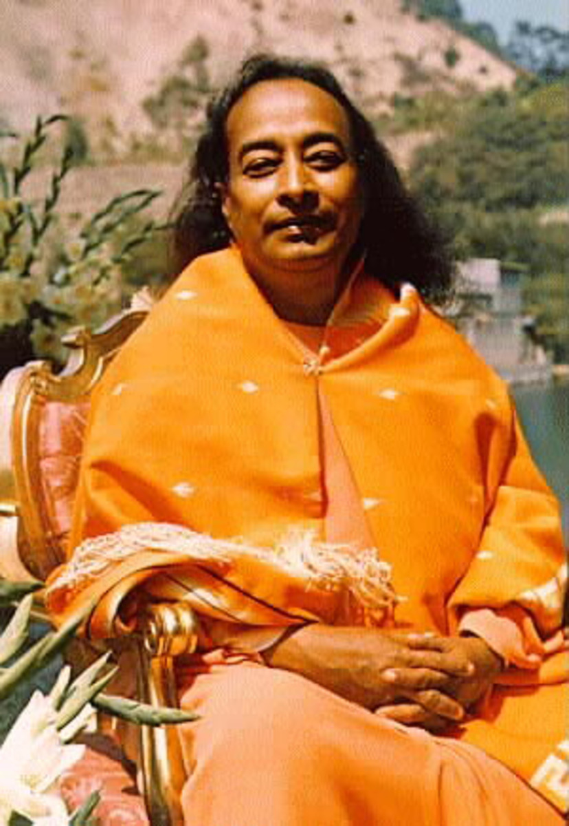 A photo of Yogananda taken at Lakeshrine in Southern California.
