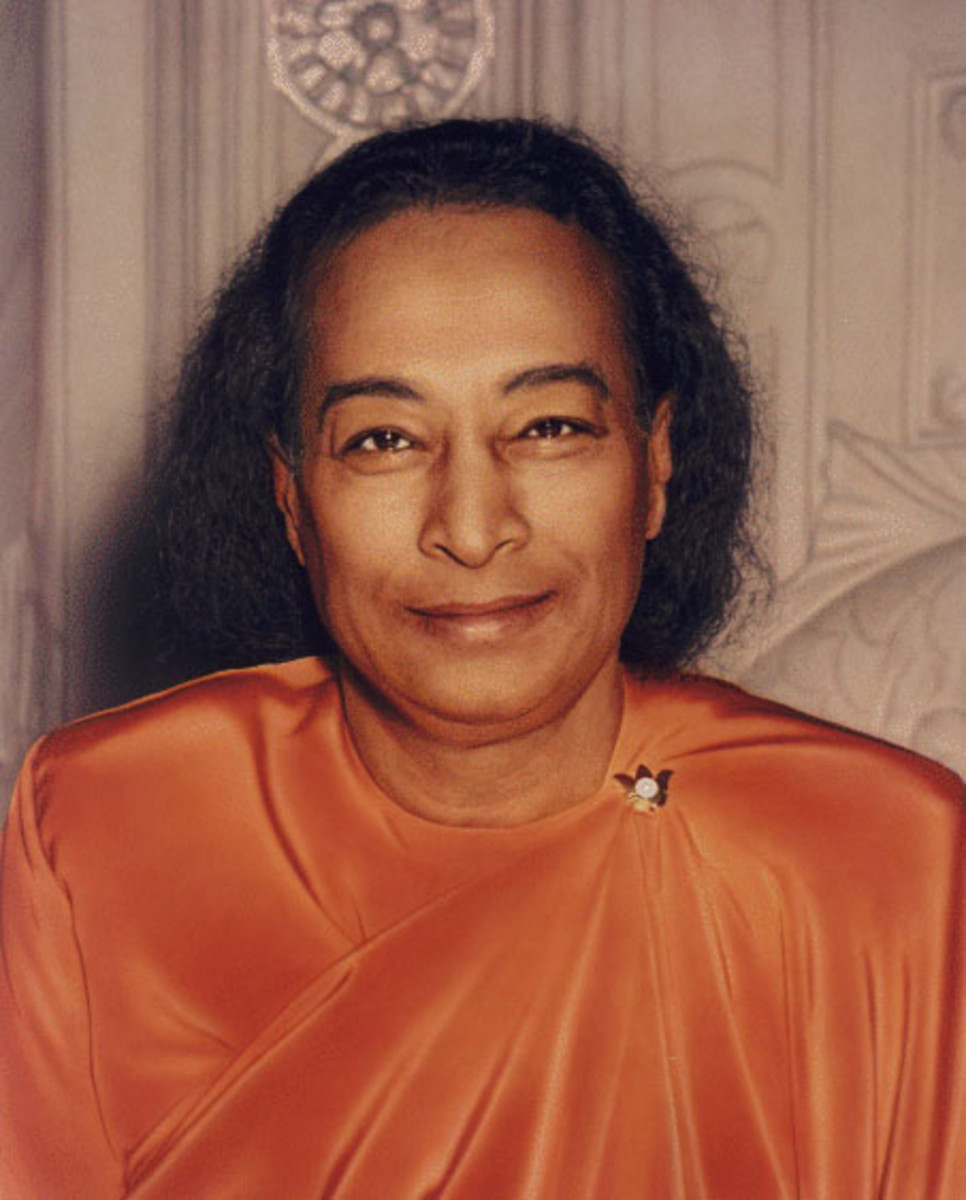 "The photo of Yogananda known as the ""Last Smile,"" as it was taken just shortly before he passed from this life."