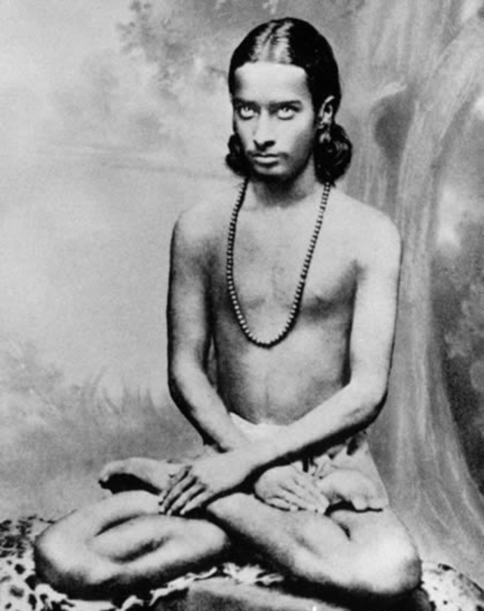 Yogananda meditating at the age of 16.