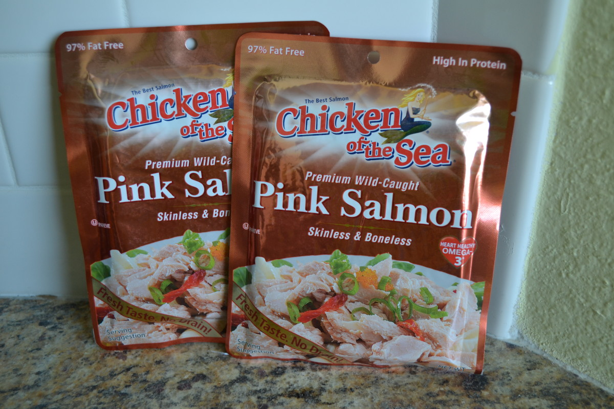 My preferred salmon for making salmon patties. This product comes in two sizes; I use two of the larger (5-ounce) pouches for this recipe, which makes 6 medium-sized patties.