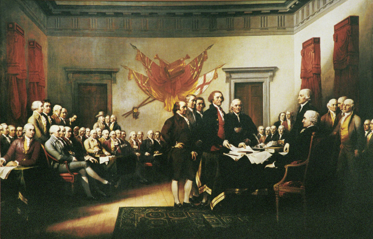 Declaration of Independence by John Trumbull: contrary to popular belief this does not depict the signing but the actual presentation of the draft  Declaration to Congress.