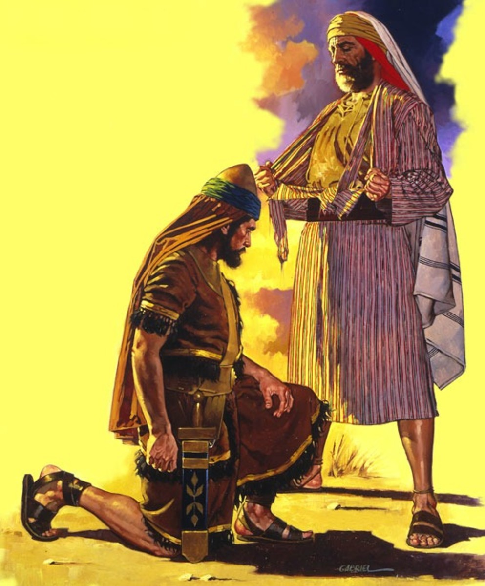 Jeroboam- The First King of Northern Kingdom of Israel kneeling before the prophet Ahija of Shiloh. The latter tore his new cloak into ten pieces to signify to Jeroboam that he needs to unite the ten tribes into one Kingdom.