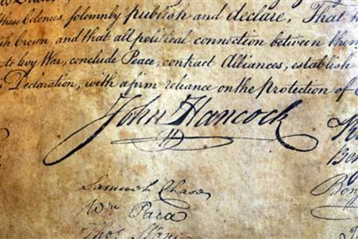 The Signature of John Hancock: compare its size to the others!