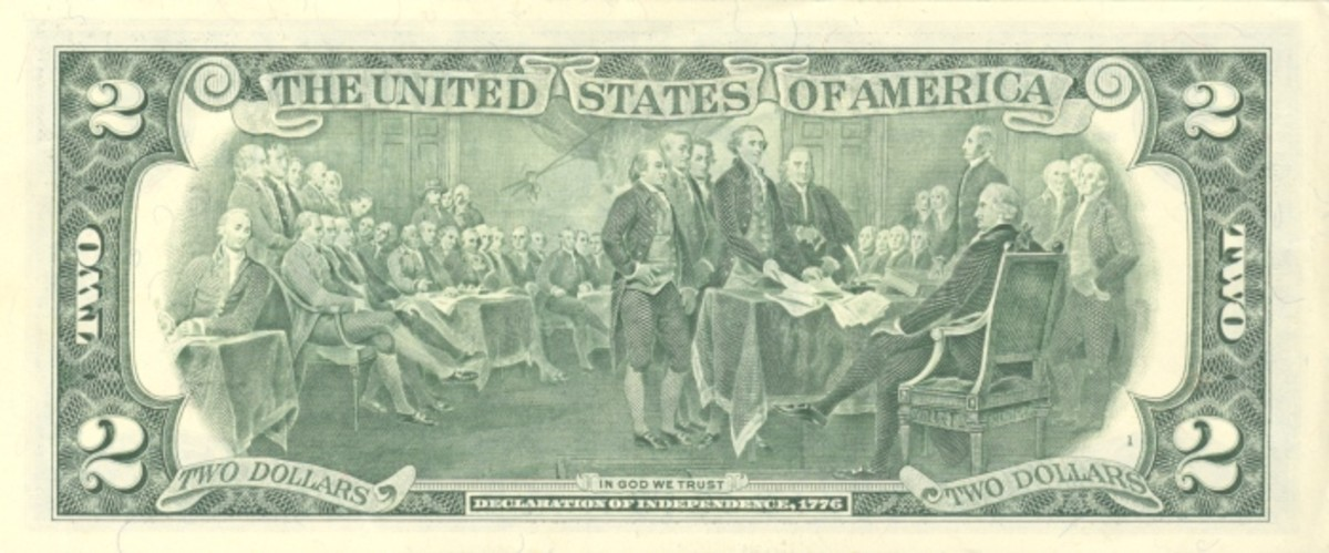 Trumbull's Declaration as depicted on the reverse of the $2 dollar bill.
