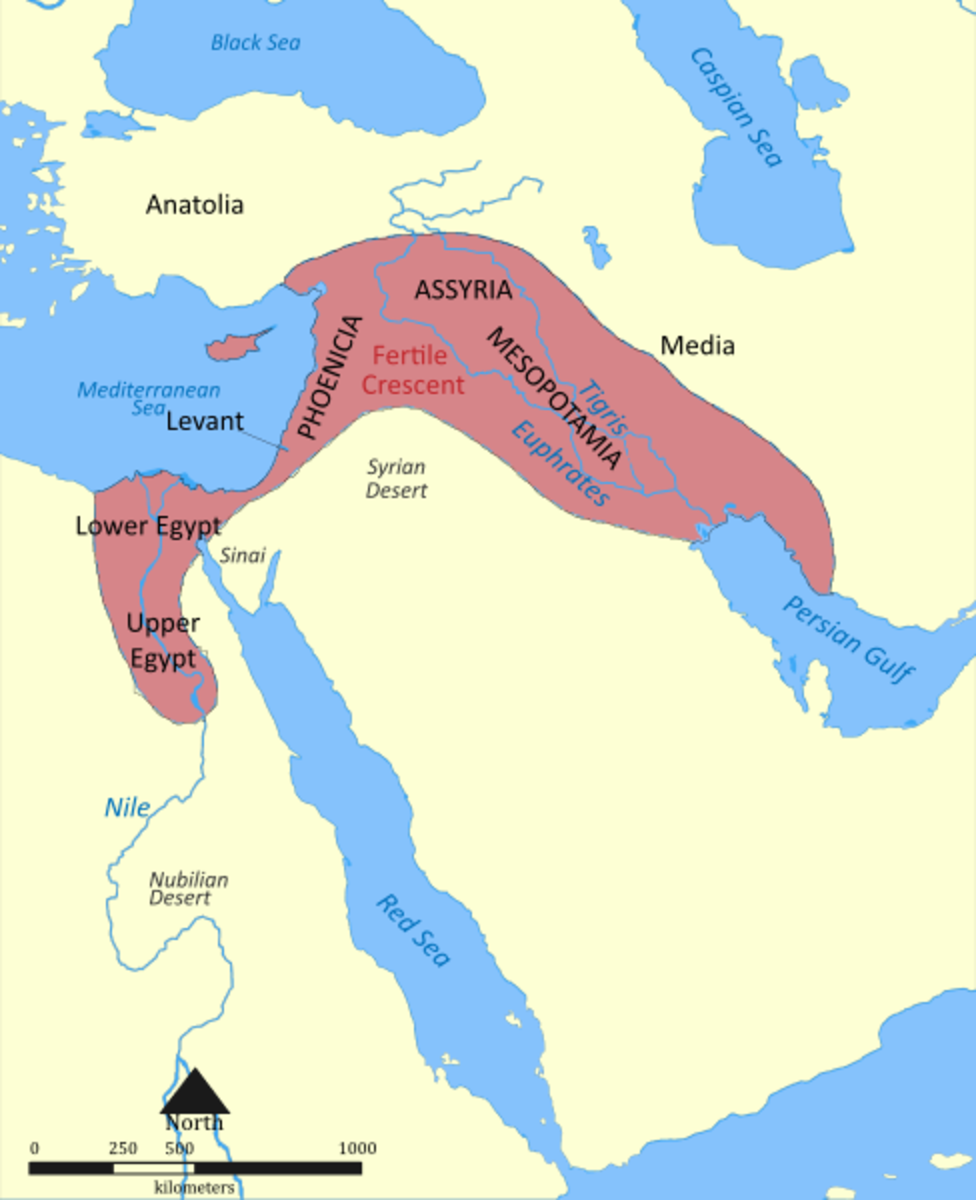 The area marked in red is known as the Fertile Crescent and marks the birthplace of agriculture. It's also still a place where one can find wheat, rye and barley growing naturally.
