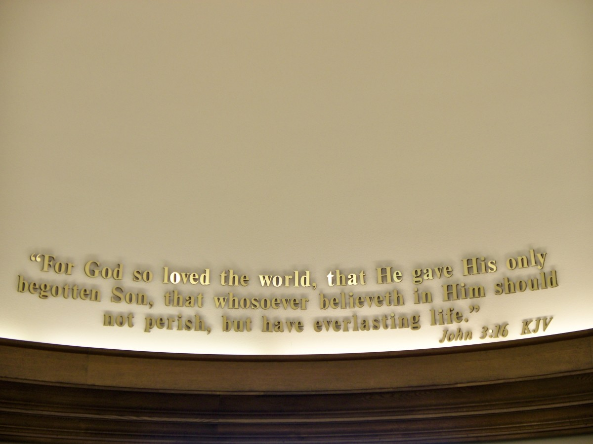 John 3:16 on a wall at Focus on the Family's Headquarters in Colorado Springs, CO