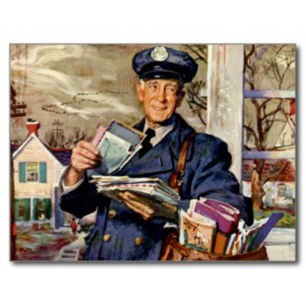 The mailman makes his rounds distributing cards and Christmas cheer.