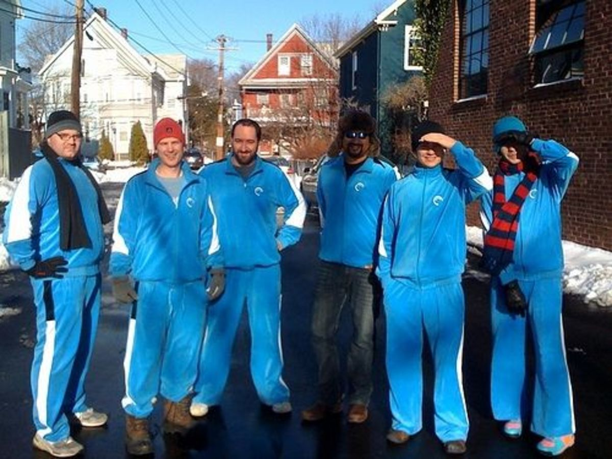 Work crew decked out in their velour tracksuits