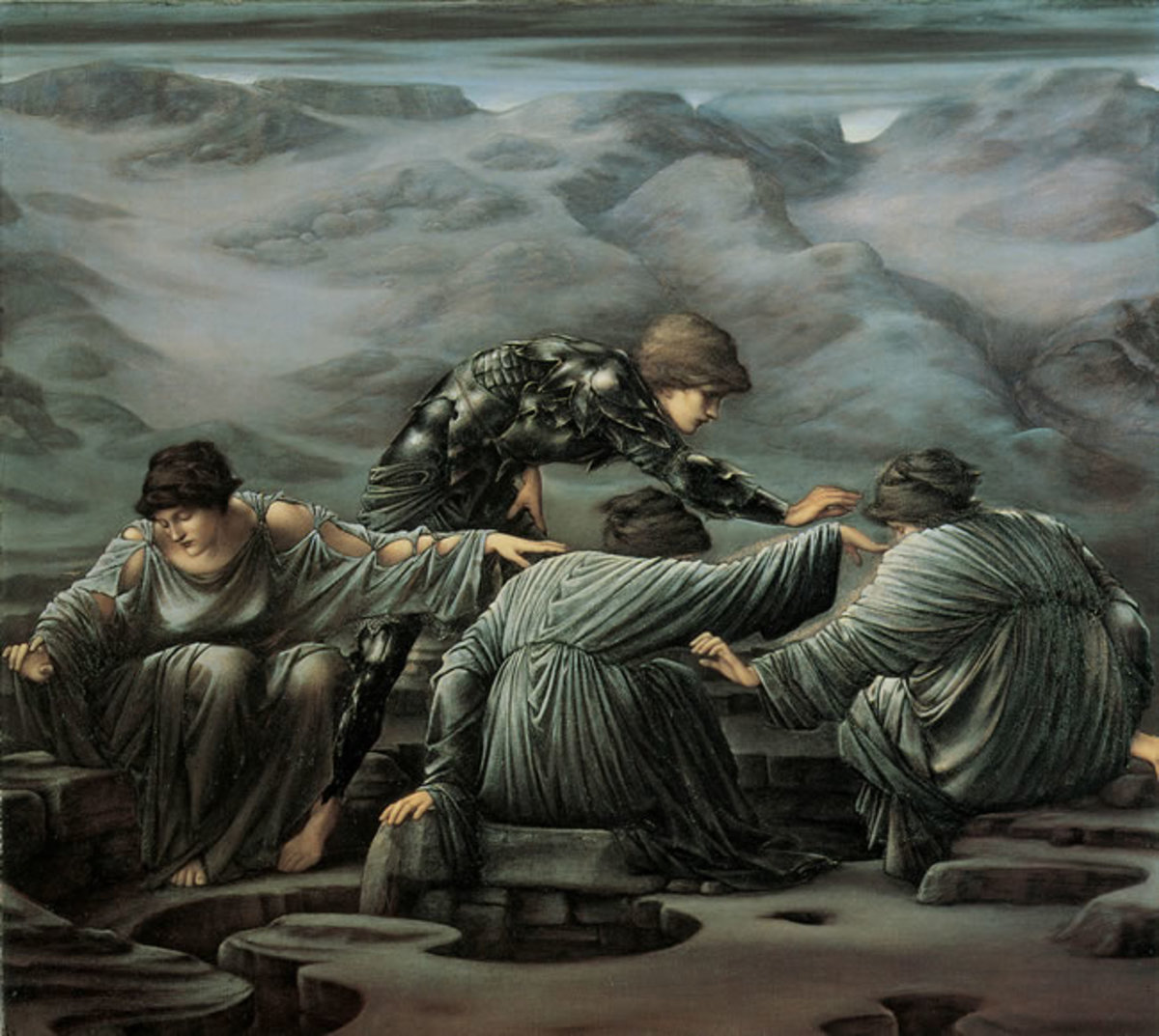'Perseus and the Graeae' by Edward Burne-Jones, 1882. In this evocative picture, the artist has chosen to present the Graeae as young and beautiful rather than the withered old women of tradition.