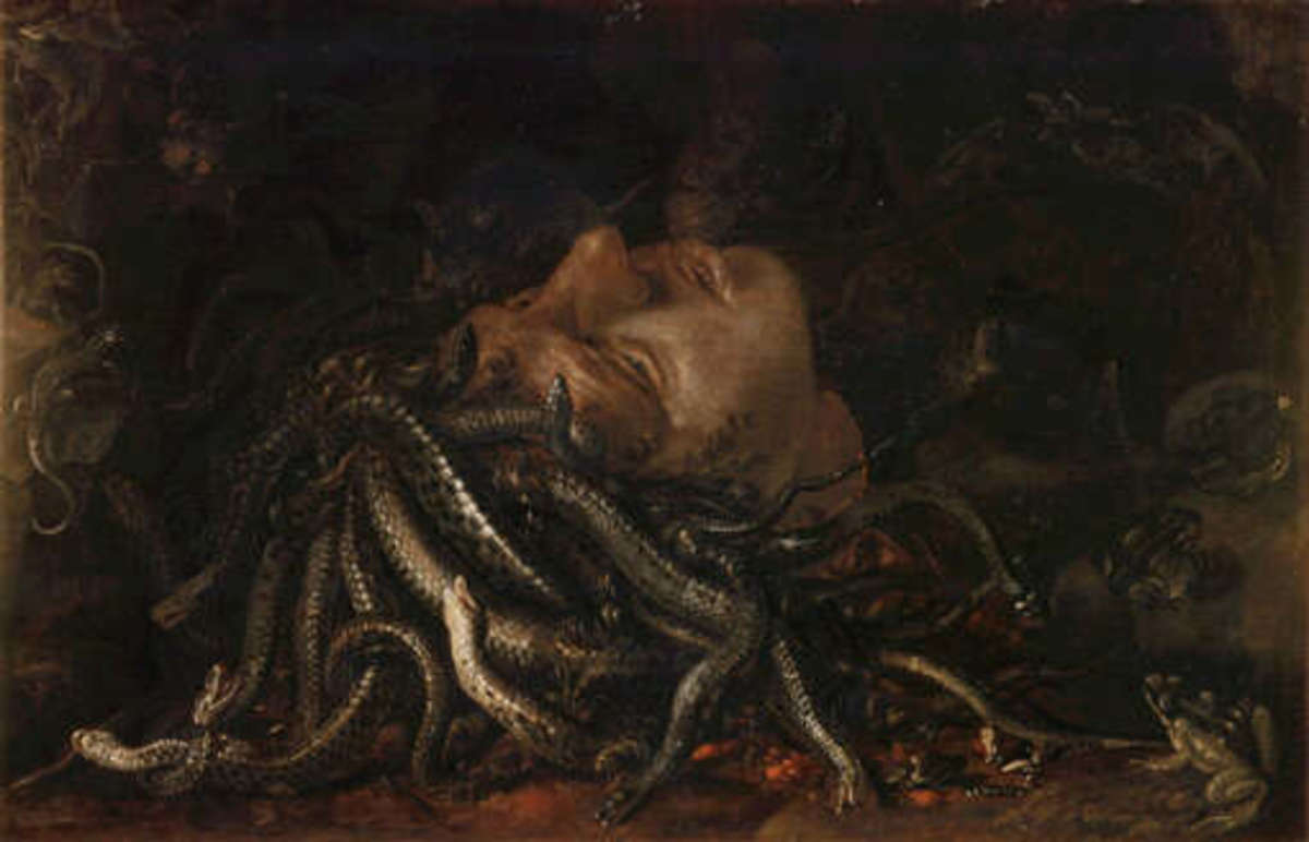 'The Head of Medusa' a Flemish painting dated to around 1600. It was formerly thought to be the work of Leonardo Da Vinci.