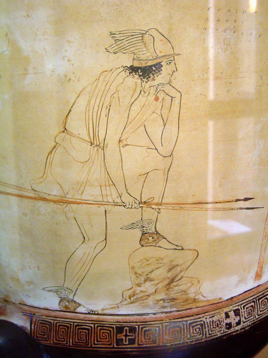 Portrait of Greek Actor Euaion in the role of Perseus. C.430BCE, Agrigento, Sicily.
