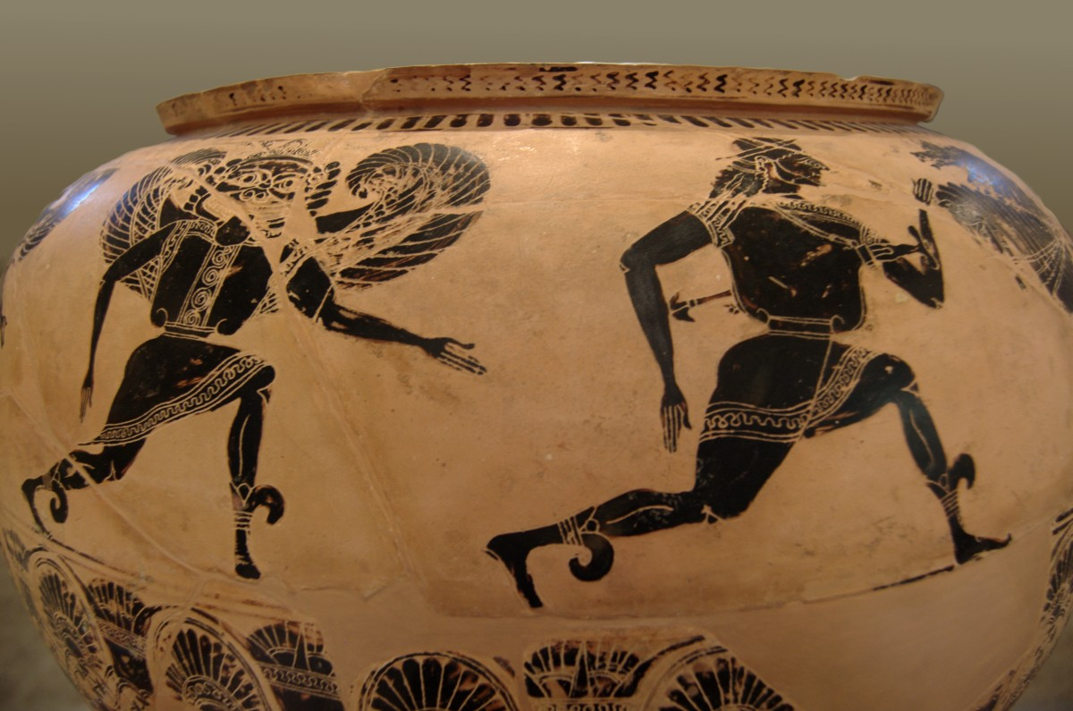 The 'Gorgon Painter's Dinos' Pot design from Etruria c.580 BCE .