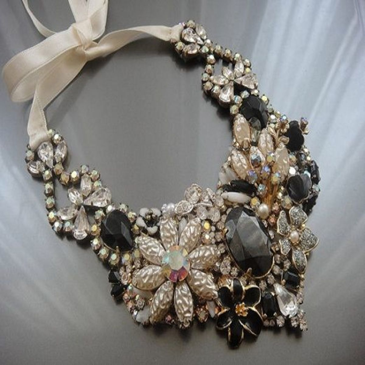 Vintage jewelry repurposed into a bib necklace from OOAKJewelz