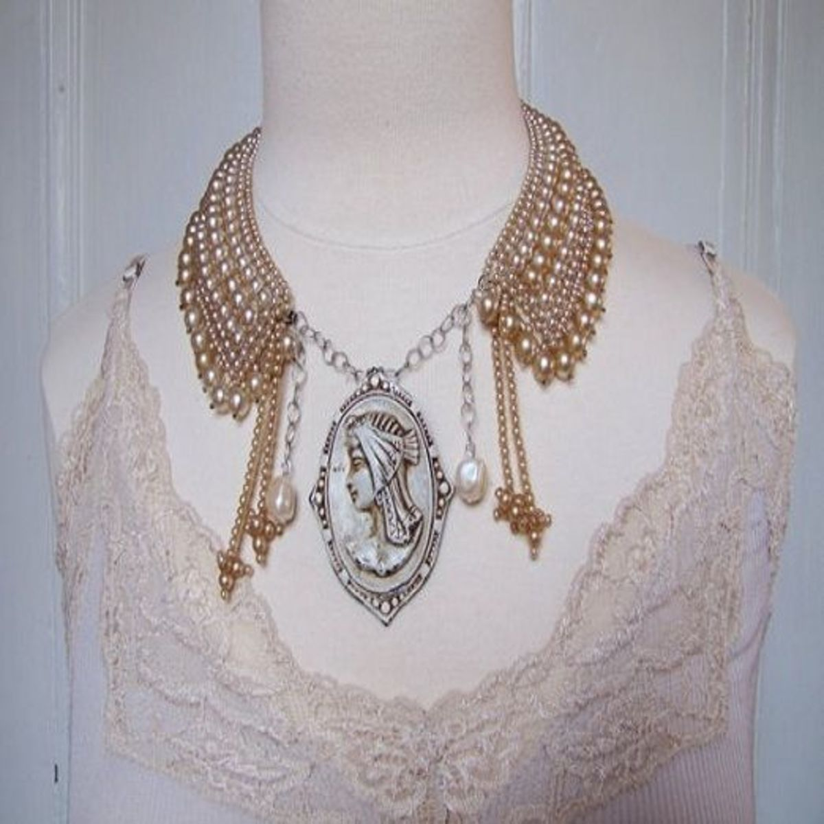Vintage jewelry repurposed into a necklace by Rose and Thatch
