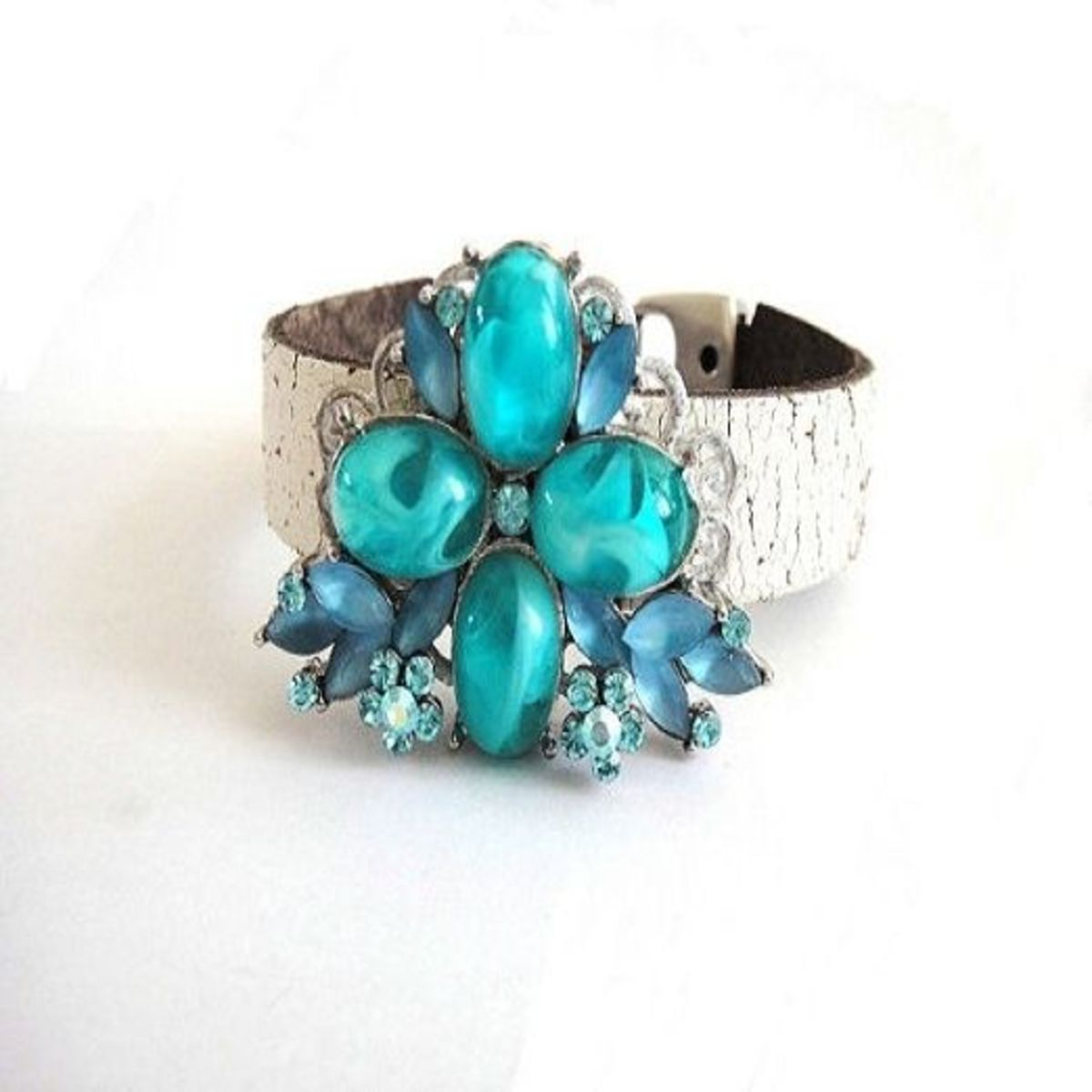 Vintage jewelry repurposed into a cuff bracelet by OOAKJewelz