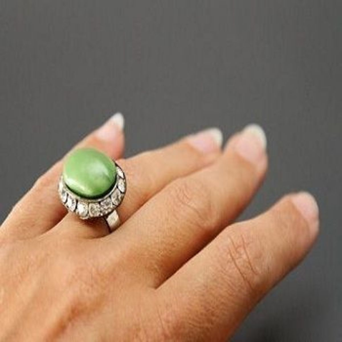 Green upcycled ring by Prettied