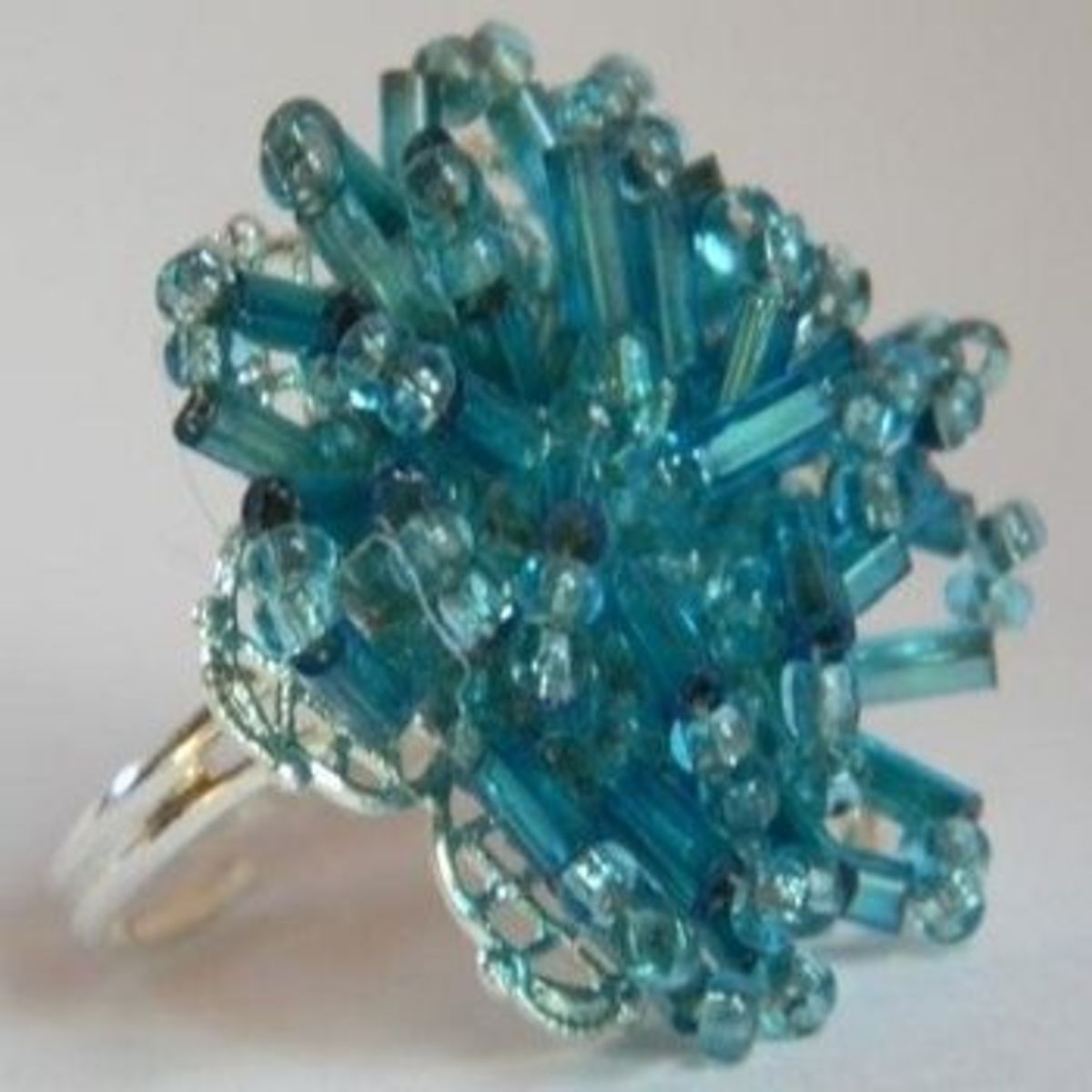 Aqua upcycled ring by Creative Kate's