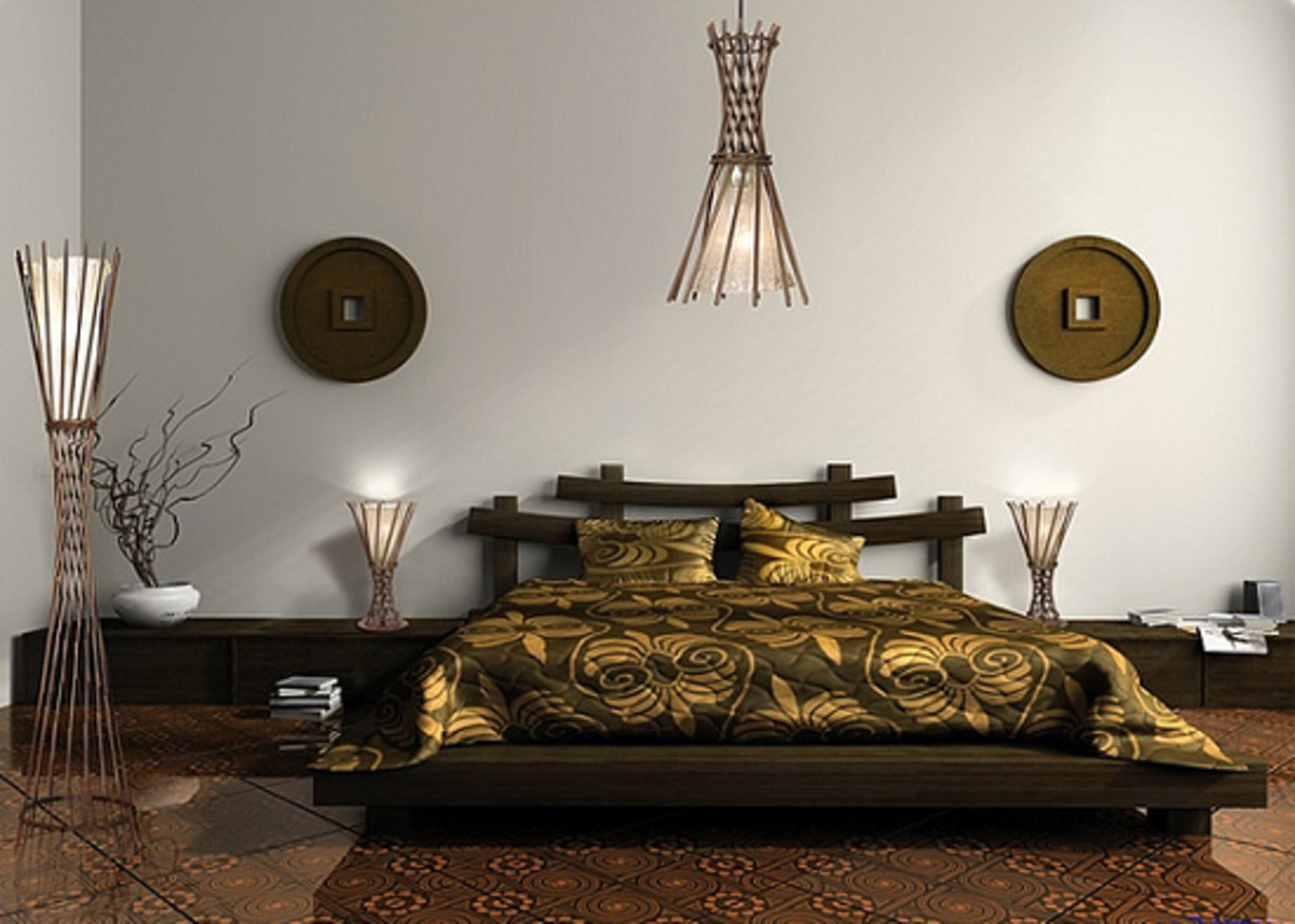 Luxurious bedroom setting in predominantly ethnic style.
