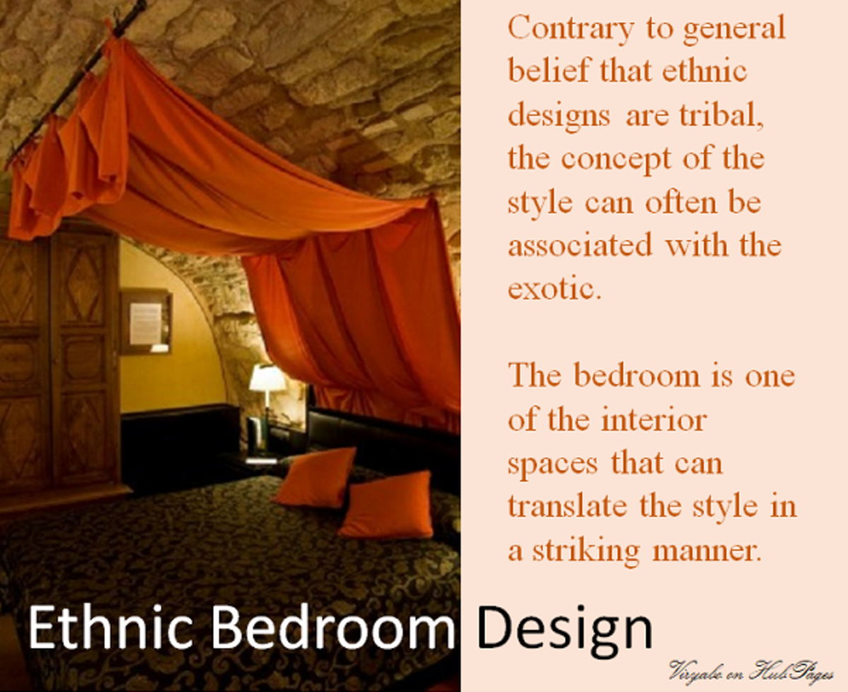 An ethnic bedroom design with stone wall/ceiling, and a brightly coloured bed canopy draped in tribal fashion.