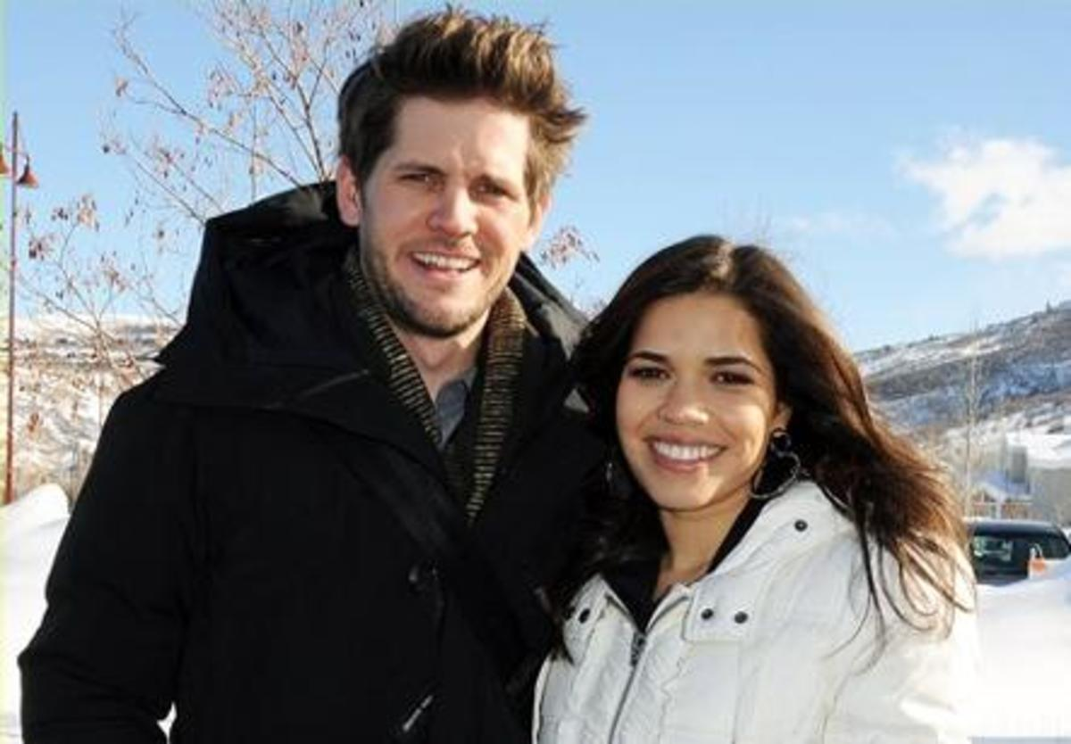 Celebrity America Ferrera and her Husband Ryan Piers Williams. Hispanic Women and White Men