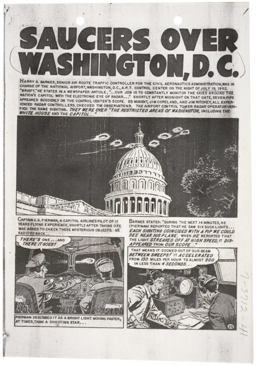 Page one of a comic about the UFOs sighted over Washington, DC shortly after Project Grudge changed into Project Blue Book.
