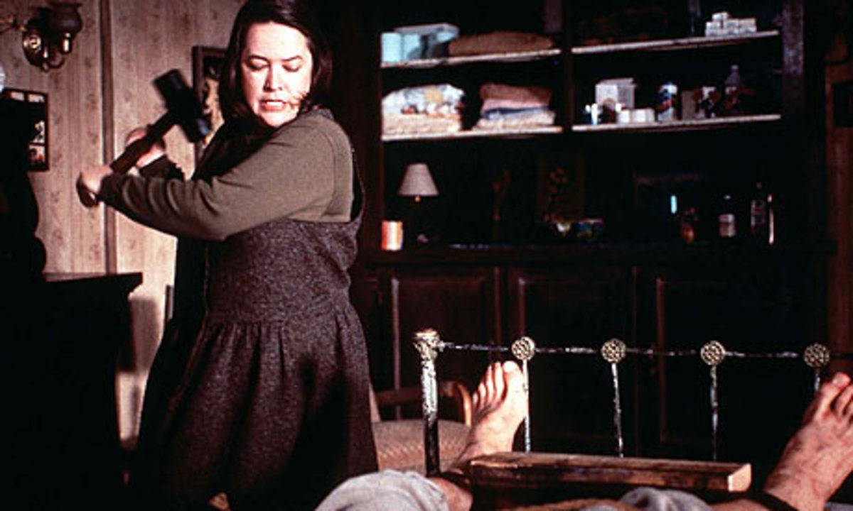 Kathy Bates does an excellent job of portraying evil Caregiver Annie Wilkes in the film adaptation of Stephen King's Misery