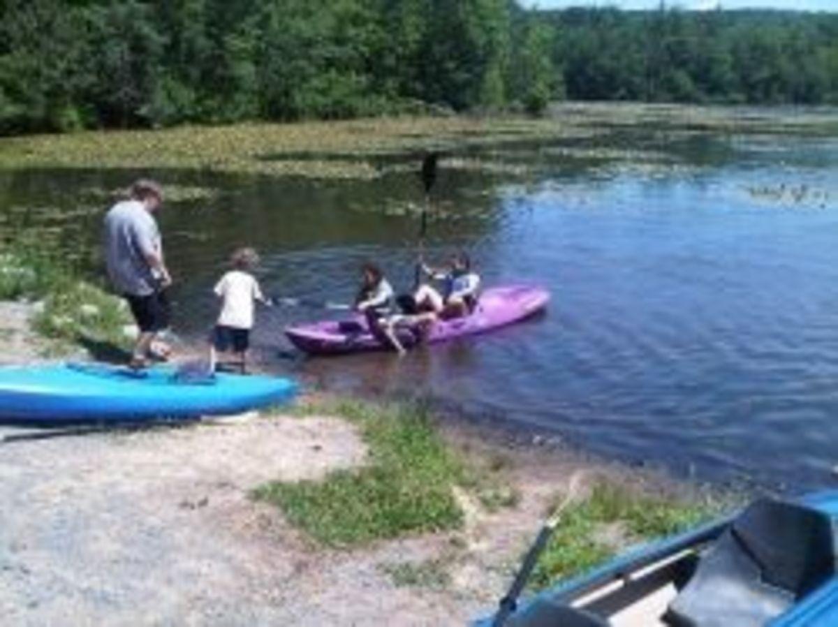 Kayaking on a camping trip