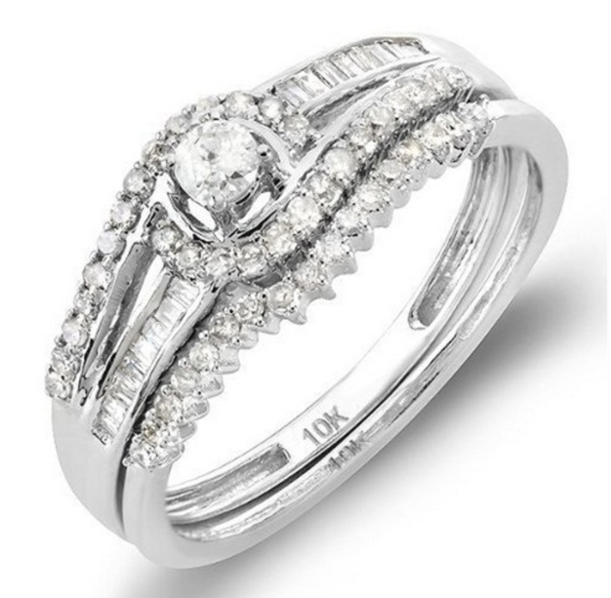 10k White Gold Round & Baguette Diamond Halo Bridal Ring Set