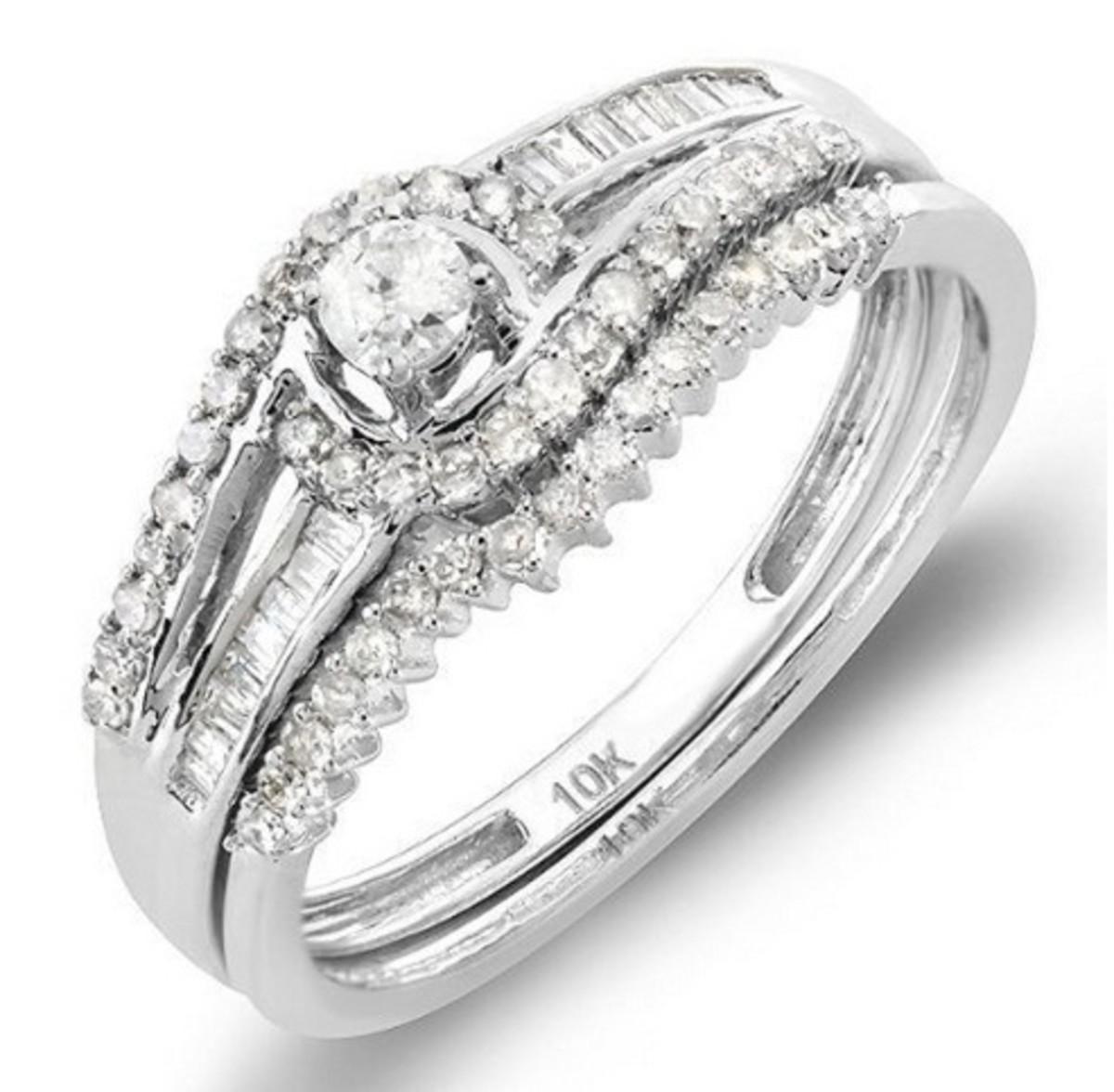 10k White Gold Round & Baguette Diamond Halo Bridal Ring Set