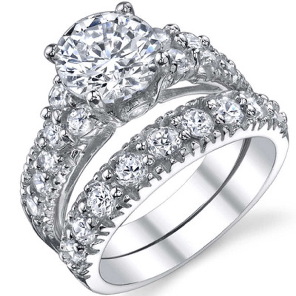 925 Sterling Silver Cubic Zirconia Bridal Ring Set