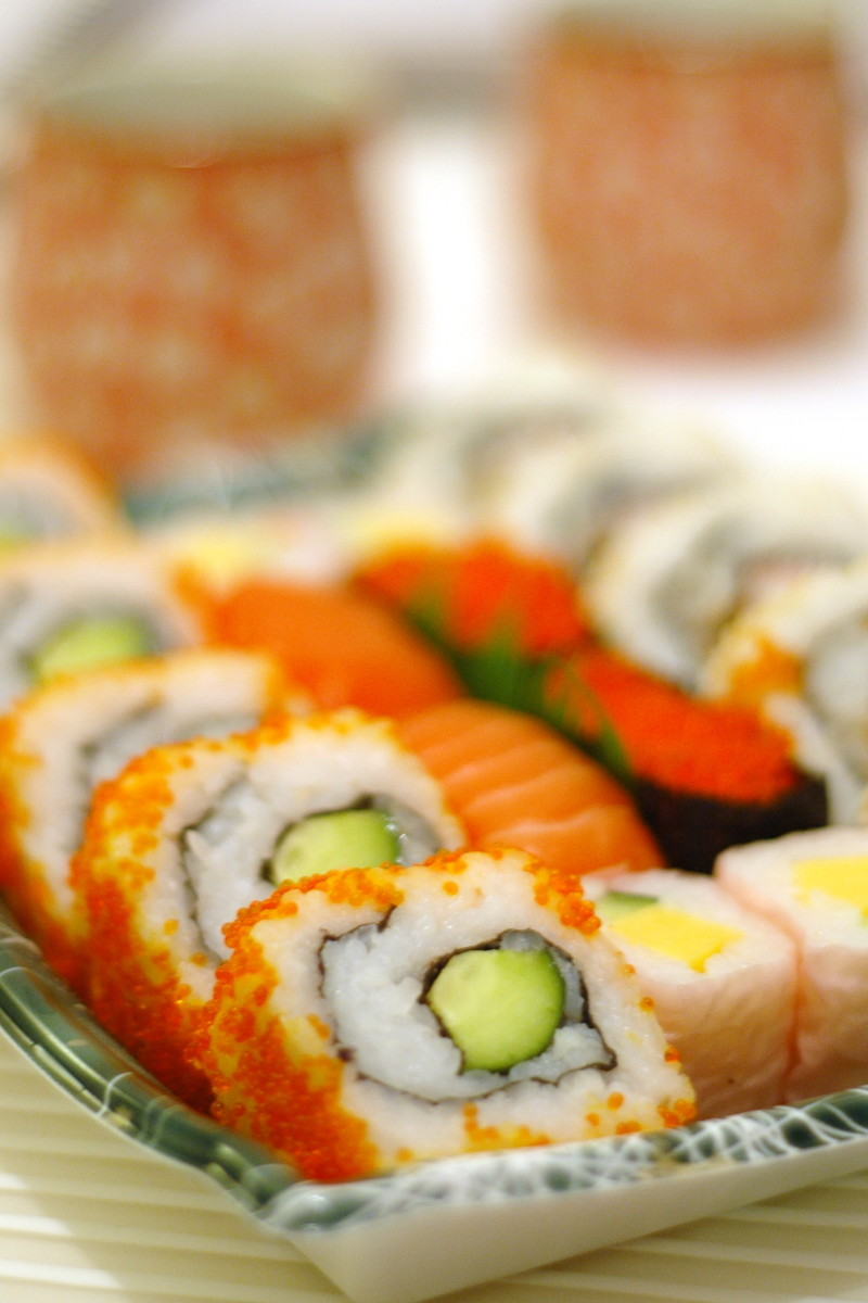 A California Roll (crab meat with avocado and cucumber) is a good first roll to try if you're new to sushi.