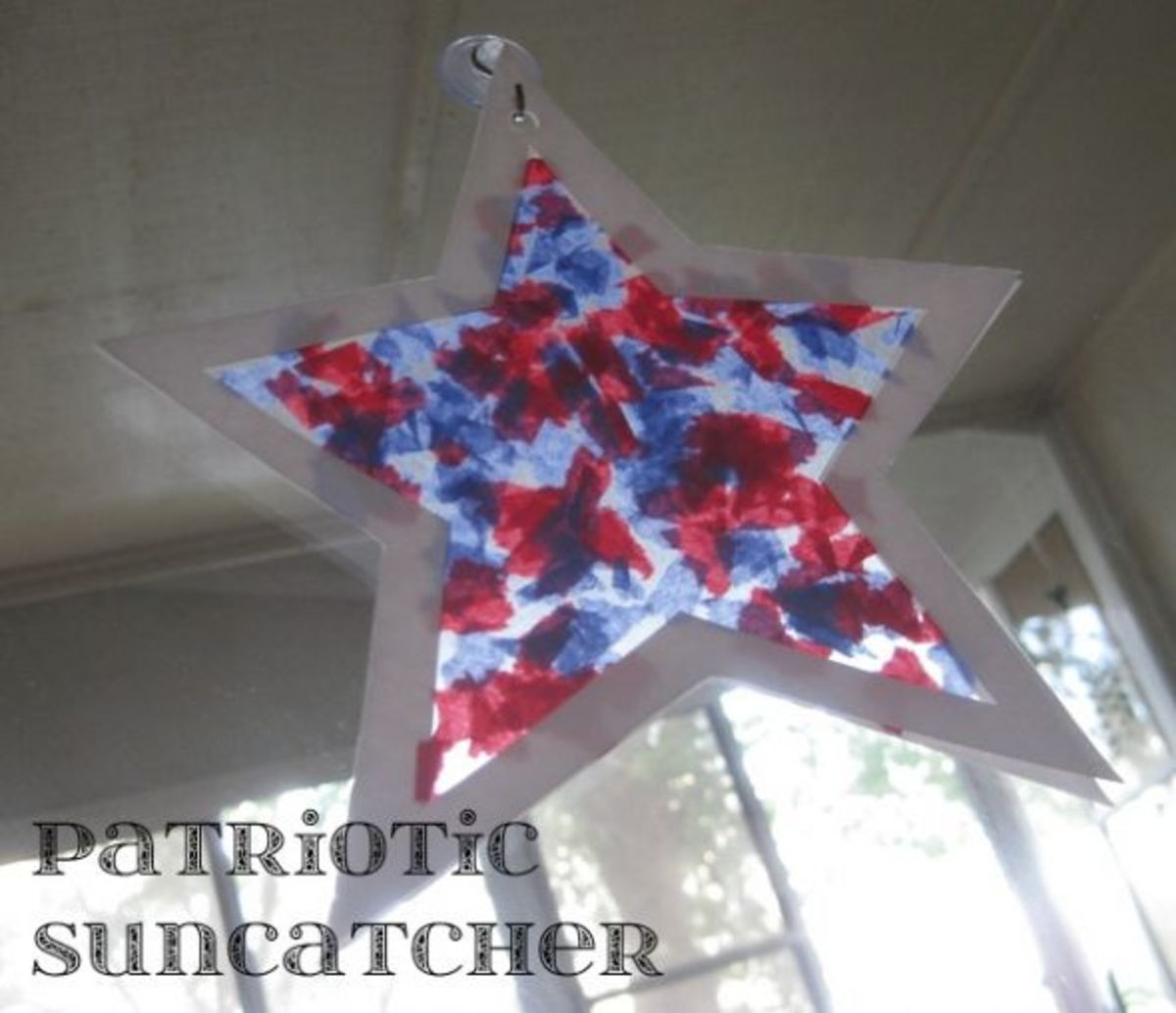 red white and blue patriotic star suncatcher memorial day crafts for kids
