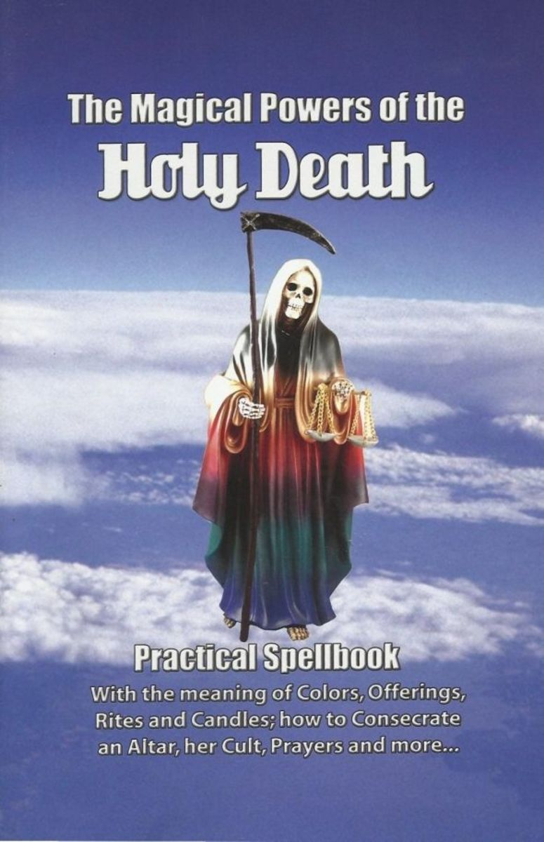 Folk saints, such as La Santisima Muerte, are saints not recognized by the Church, but many still have large faithful followings. Photo is a scan of my personal copy of this book.
