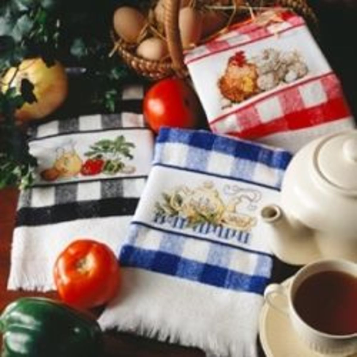 cross stitchen kitchen towels