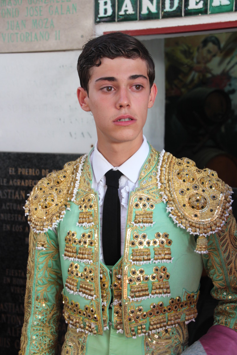 A young bullfighter, Cristian Marcos, ready to go into the bullring