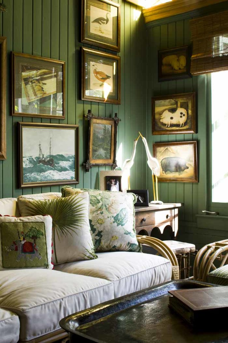 Green inspires calm, nature, and serenity as clearly seen in this palm beach porch