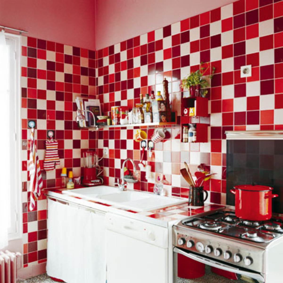 A red kitchen with country appeal