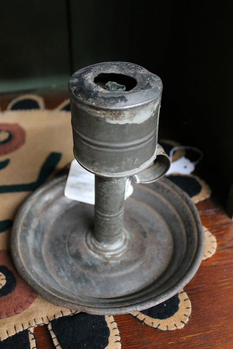 An early pewter whale oil lamp