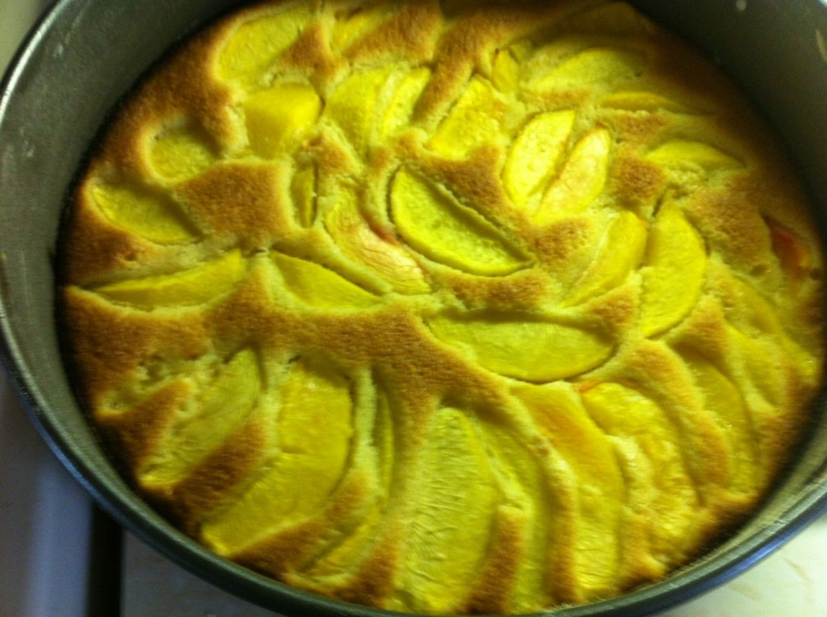 Peach Cake is out of the oven and ready to cool