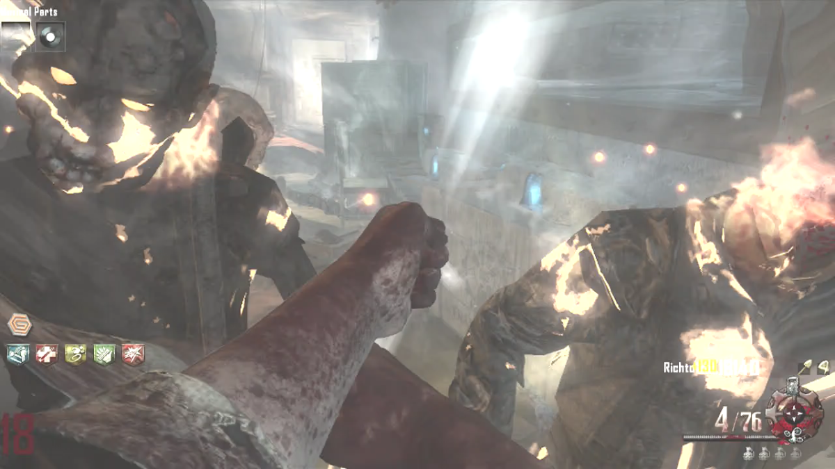 I was making it easy by shooting the zombies with the Staff of Fire, and then punching them.