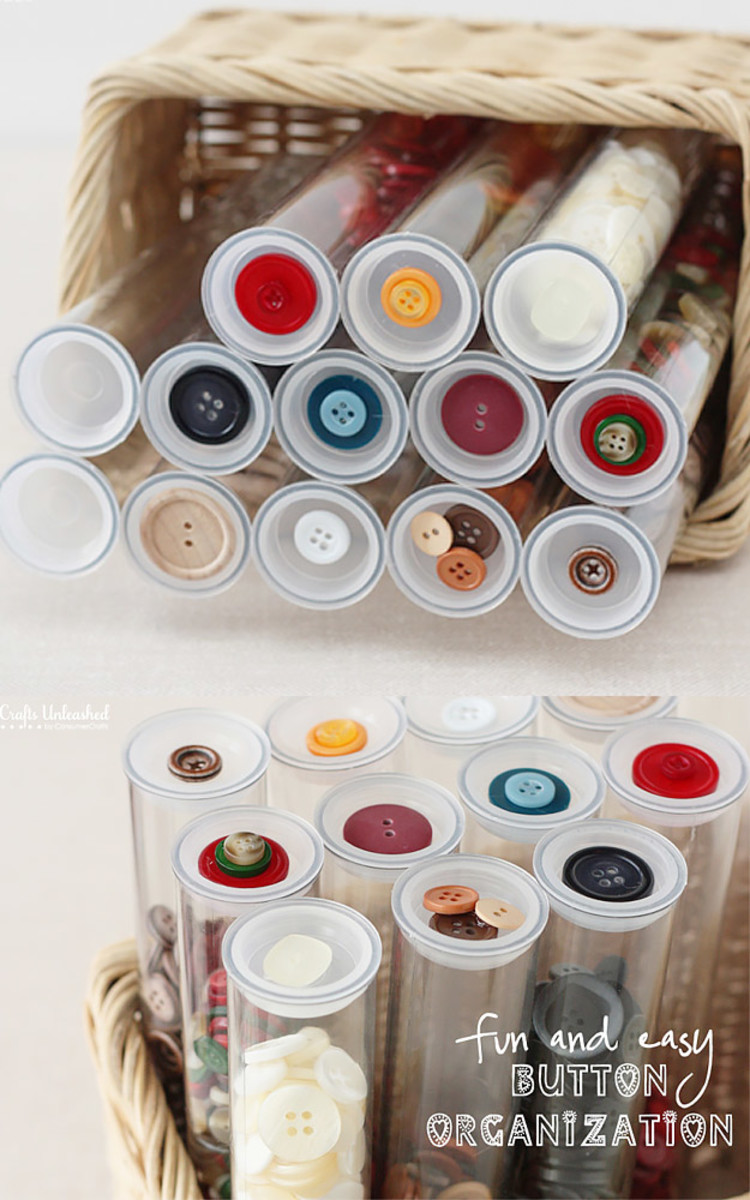 You have to love this button storage idea. Recycled pill bottles would work also
