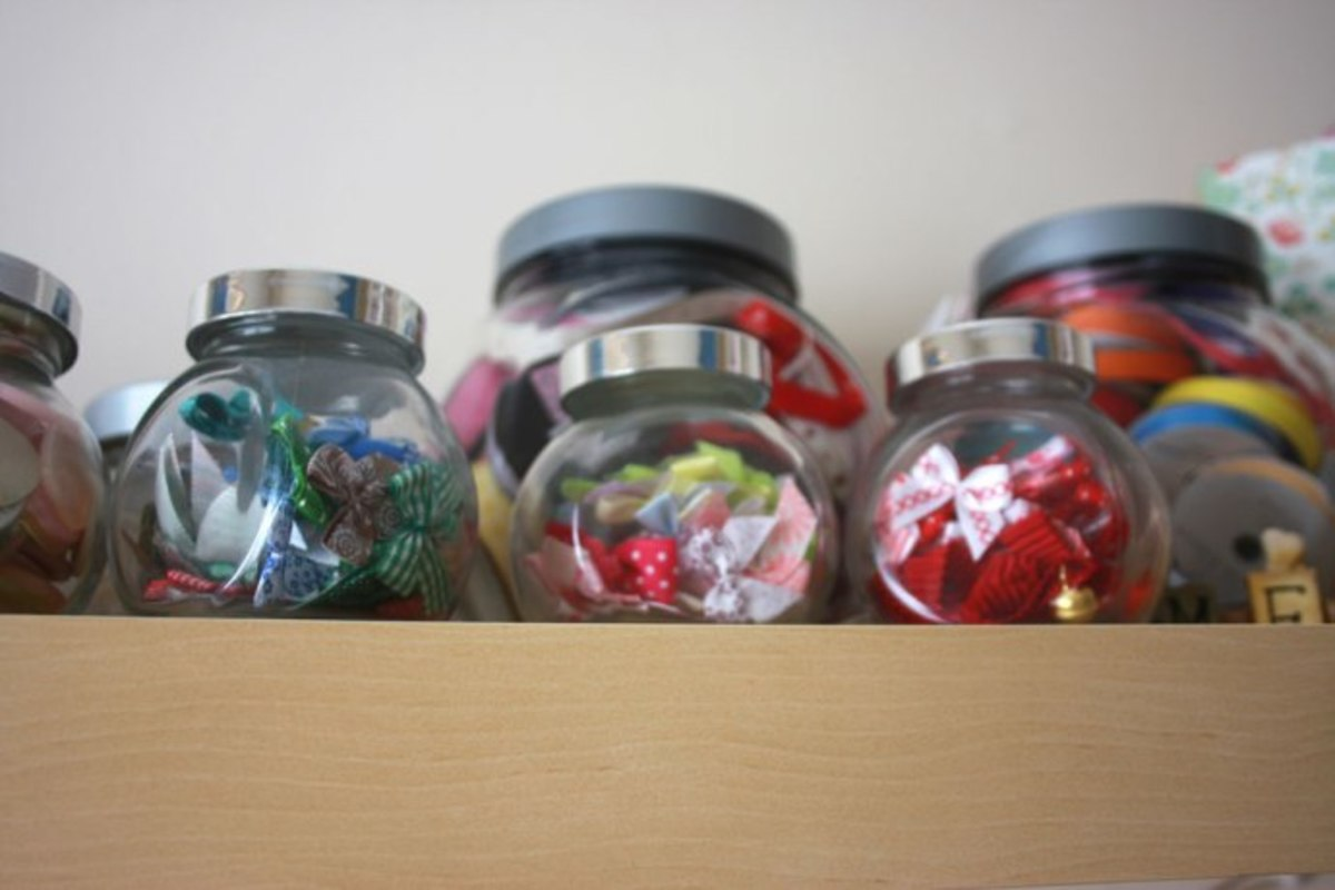 Some folks like to store their embellishments in decorative jars